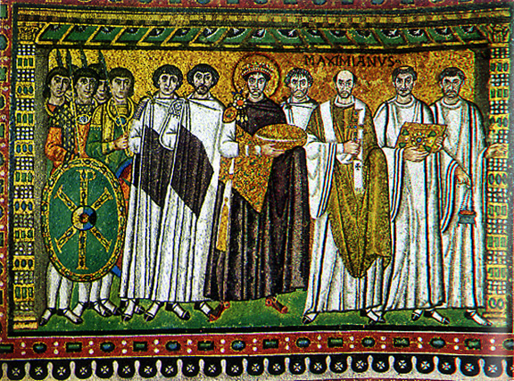 Emperor Justinian and Attendants Byzantine tile mosaic 540-547 A.D.