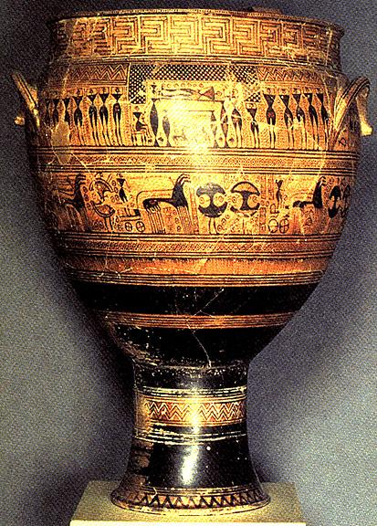 dipylon vase 約西元前 760 ~ 750 年 赤土陶器,108 公分高 大都會博物館,紐約 ﹝new york ﹞ ,美國 說明: 在邁諾斯和麥錫尼文明衰落後.